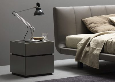 Contemporary bedside table / glass / oak / lacquered wood